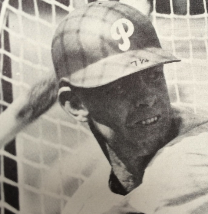 Late 1960s: Phillies outfielder Don Lock, with his hat size written on his batting helmet brim