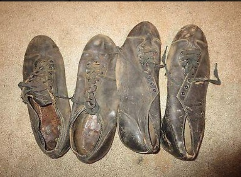 Leather baseball cleats from the 1920s-30s