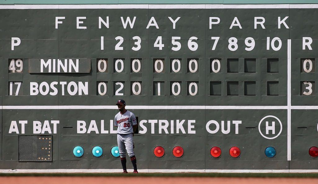Eddie Rosario of the Minnesota Twins stands in front of the score board at Fenway Park