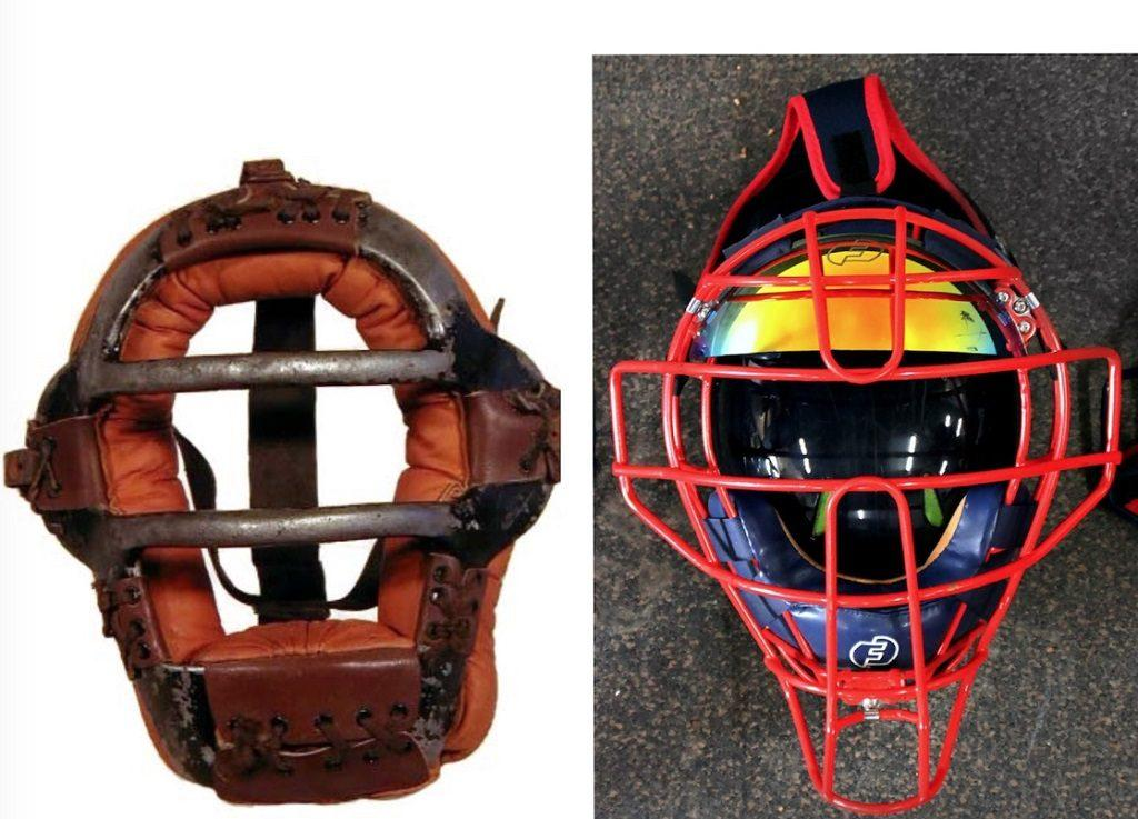 A catchers mask from the 1920s versus now