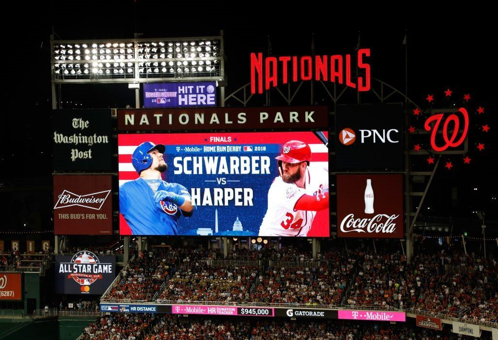 The scoreboard at Nationals Park during the 2018 Home Run Derby