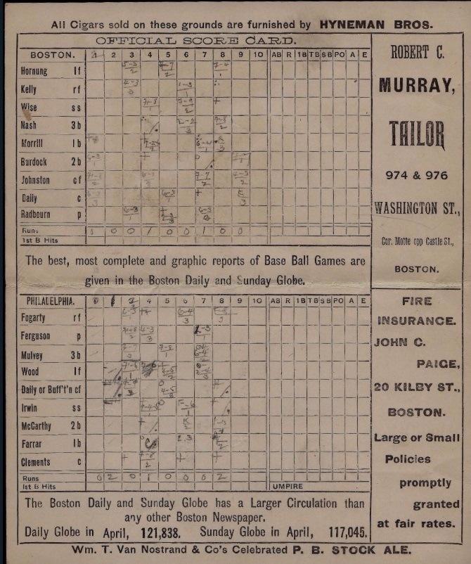 1880s baseball scorecard, Philadelphia vs. Boston
