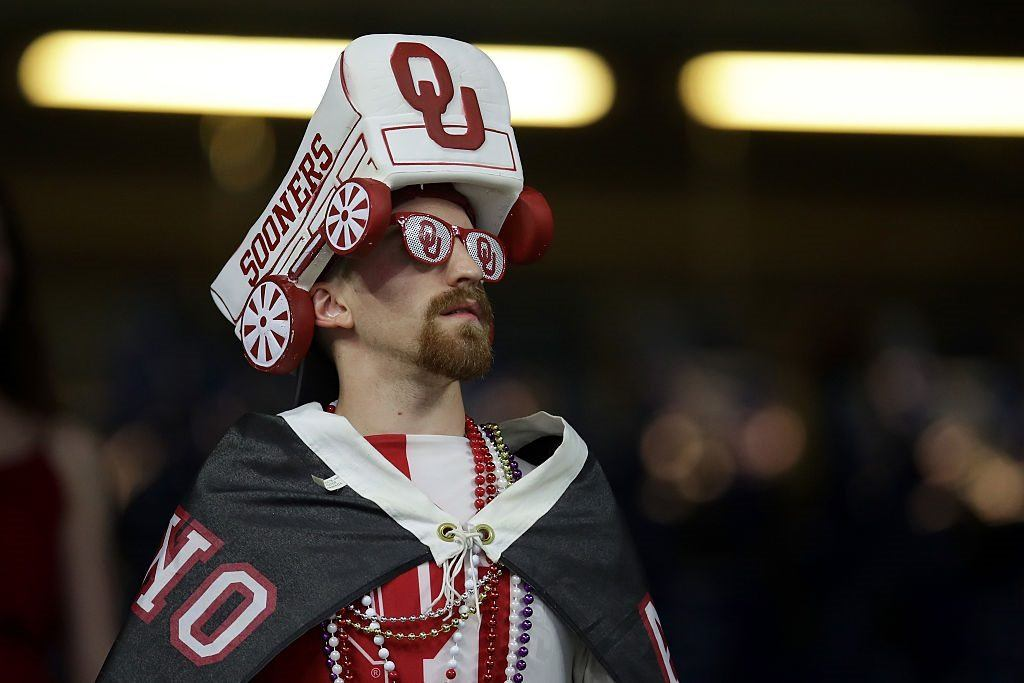 A fan of Oklahoma Sooners cheers prior to the Allstate Sugar Bowl at the Mercedes-Benz Superdome on January 2, 2017 in New Orleans, Louisiana.