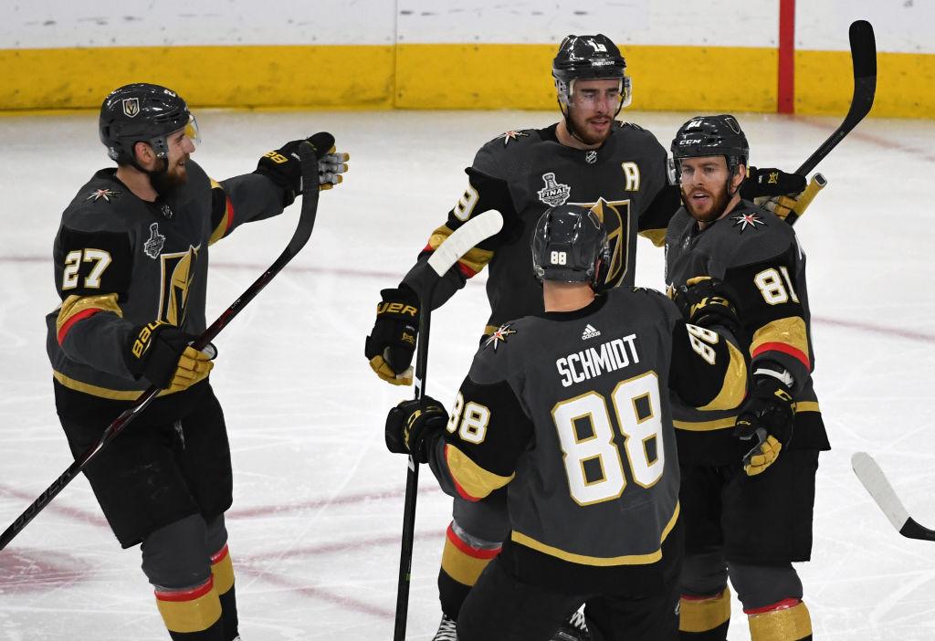 Las Vegas Golden Knights-Shea Theodore 27-Reilly Smith 19 - Jonathan Marchessault 81- Nate Schmidt 88