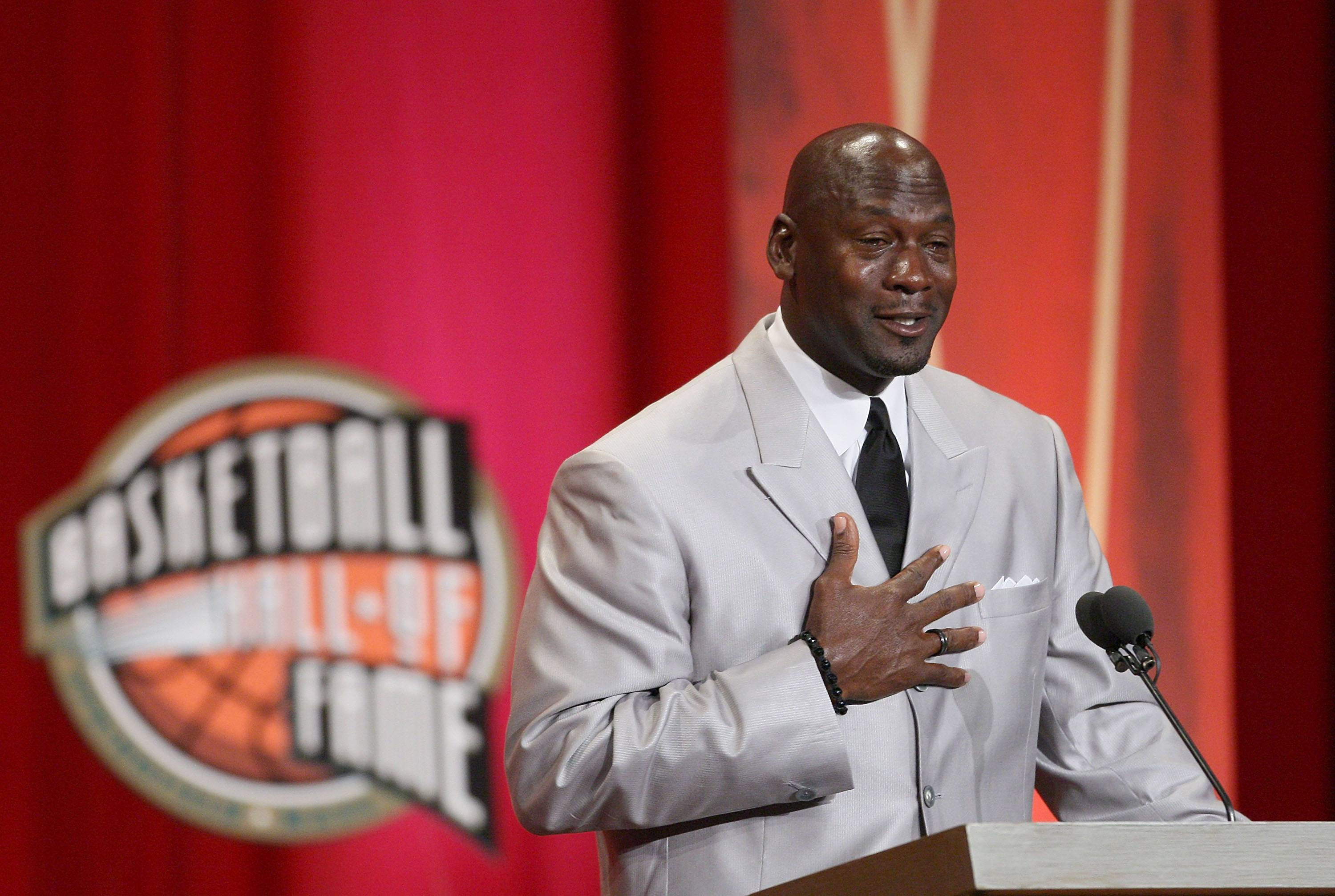 Crying Michael Jordan during Hall of Fame induction