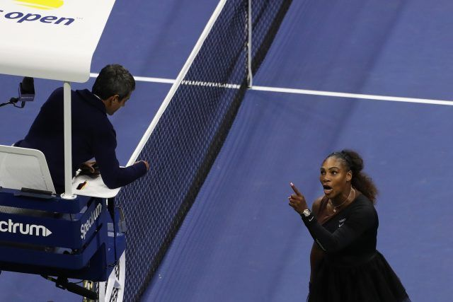 Serena Williams of the United States argues with umpire Carlos Ramos during her Women's Singles finals match against Naomi Osaka of Japan on Day Thirteen of the 2018 US Open
