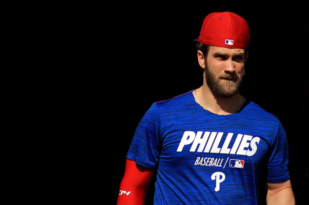 Outfielder Bryce Harper works out at Phillies spring training in 2019.
