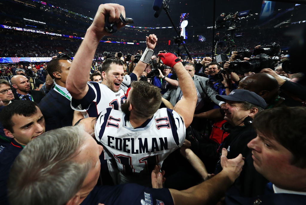 Tom Brady celebrates winning Super Bowl LIII