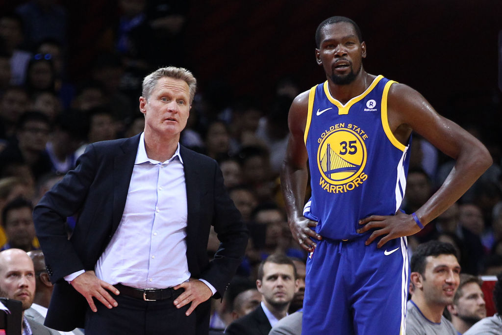 Steve Kerr (left) gave Kevin Durant high praise for one 2019 NBA Playoffs achievement.