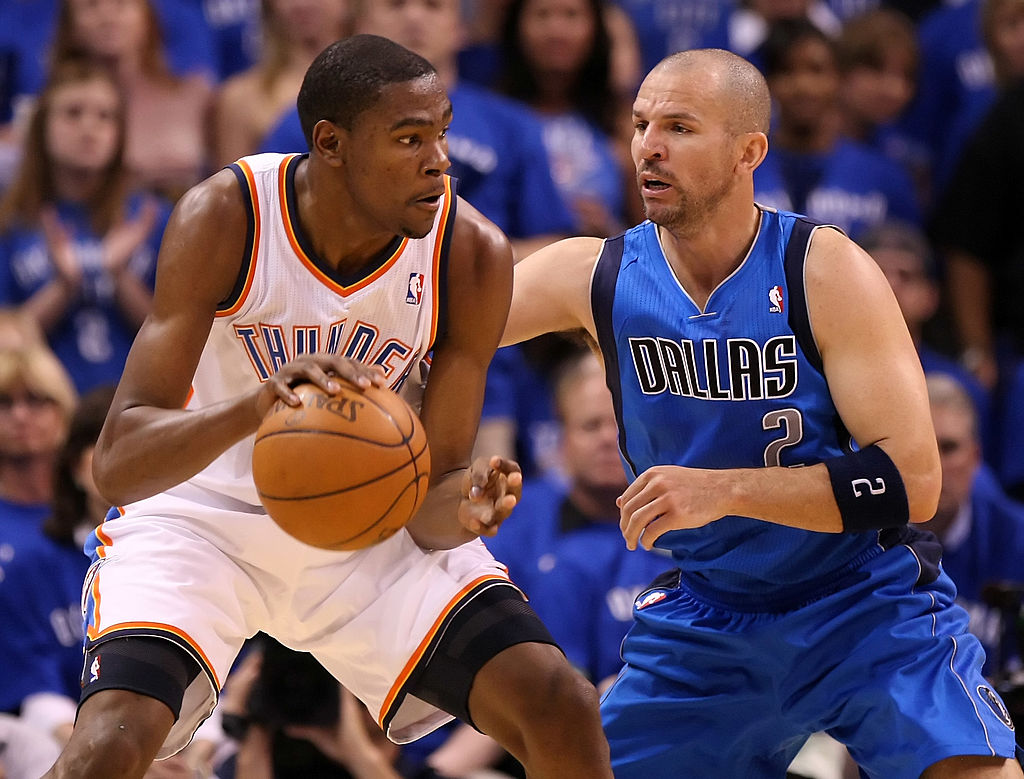 Jason Kidd (right) was a stud on defense vs. the Thunder in the 2012 NBA playoffs.
