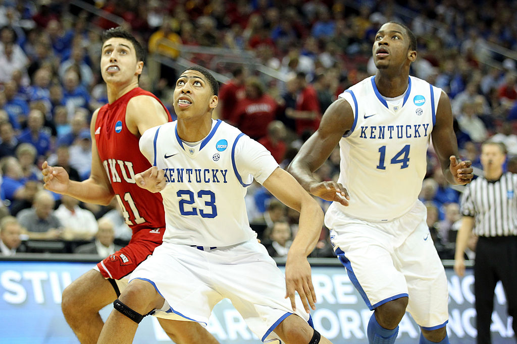Anthony Davis (middle) and Michael Kidd-Gilchrist (right) are two of the handful of NBA players who won NCAA basketball titles.