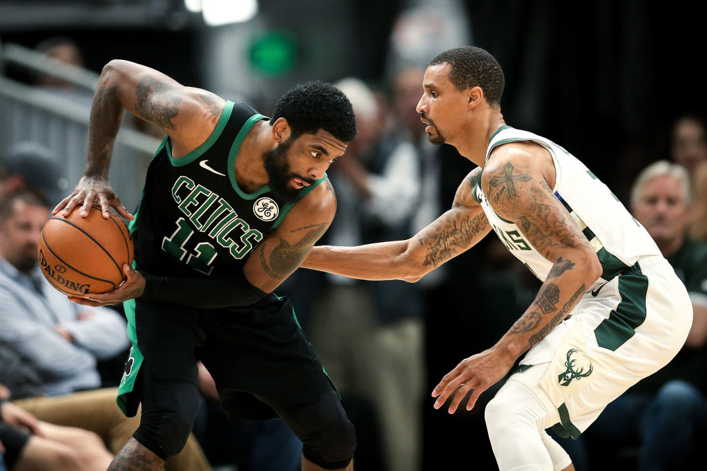 George Hill (right) and the Bucks against Kyrie Irving and the Celtics should be a close second-round series in the 2019 NBA playoffs.