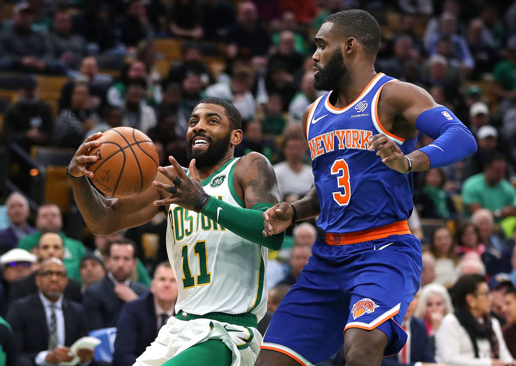 The Knicks are an option, but another team has better odds to land 2019 free agent Kyrie Irving (left).