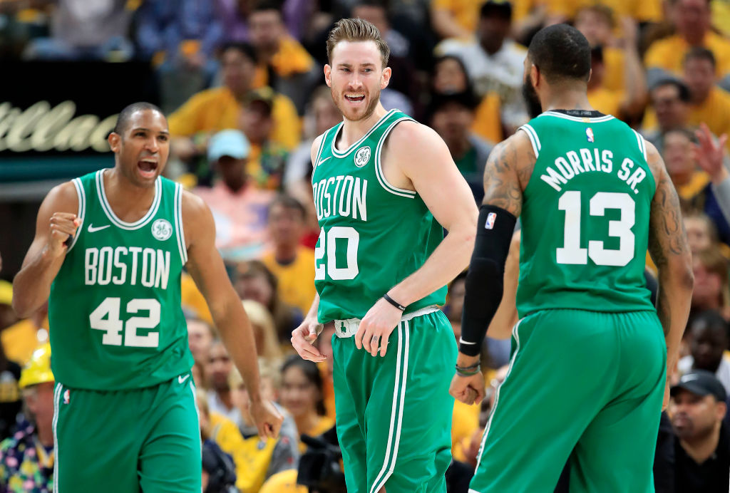 Despite a tumultuous regular season, Gordon Hayward (middle) and the Boston Celtics might be the team to beat in the East in the 2019 playoffs.