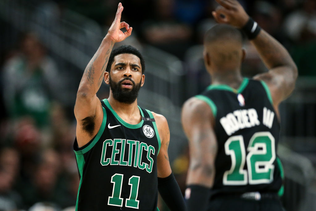 Despite a tumultuous regular season, Kyrie Irving (left) and the Boston Celtics might be the team to beat in the East in the 2019 playoffs.
