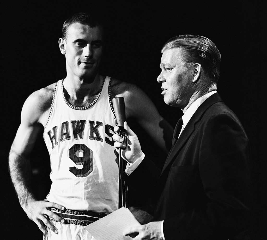 Bob Petit (left) was a key member of the 1958 St. Louis Hawks team that registered one of the biggest blowouts in NBA playoff history.