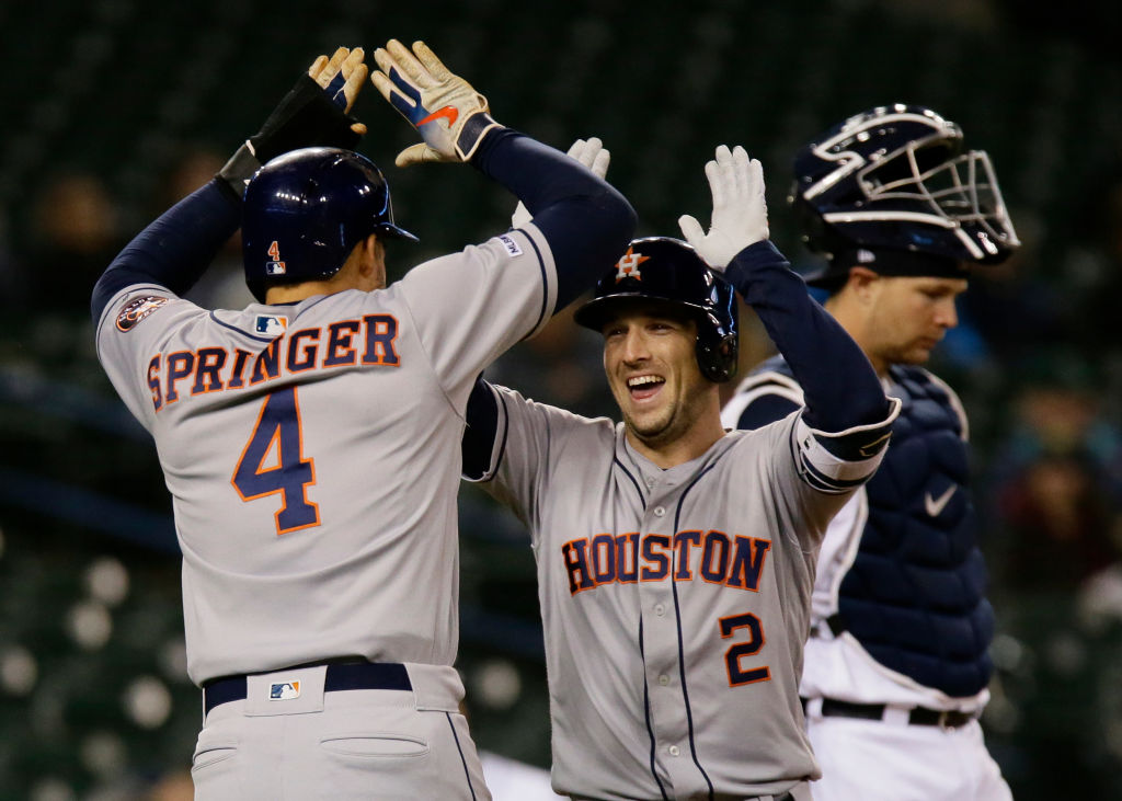 The Houston Astros offense, powered by Alex Bregman (right) and George Springer, might be one of the best of all time.