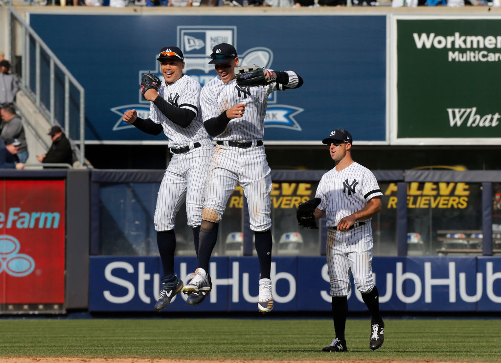 Injuries to Giancarlo Stanton (left) and Aaron Judge (middle) sidetracked the Yankees early, but the lineup will be formidable when they return.