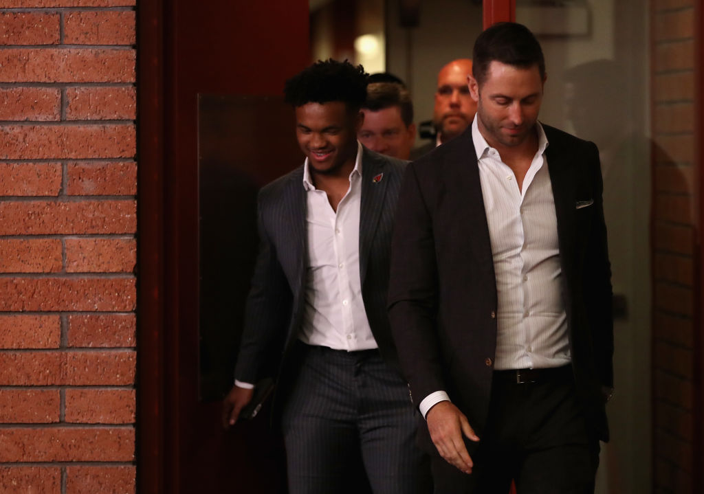 Arizona Cardinals coach Kliff Kingsbury (right) isn't sold on Kyler Murray (left) as the starting quarterback, even though he was the No. 1 draft pick in 2019 and the team traded its other viable QB.