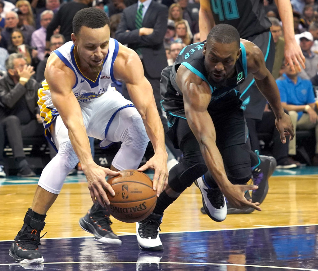 Kemba Walker (right) could join Stephen Curry in the Golden State Warriors lineup in 2019-20.