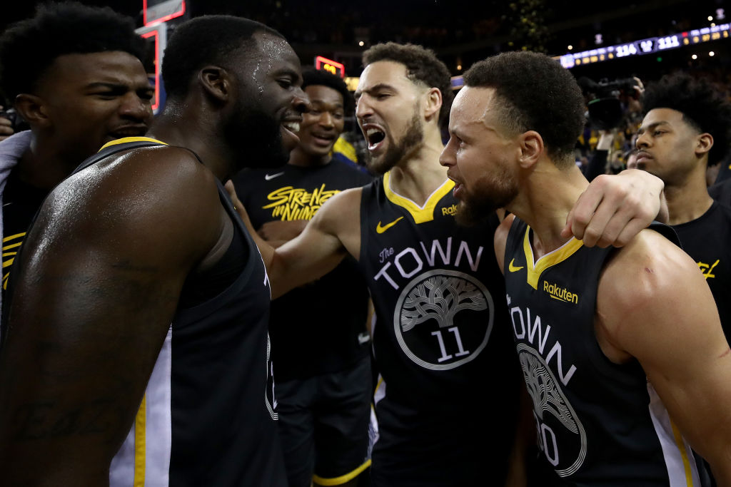 Draymond Green (from left), Klay Thompson, and Steph Curry are mainstays on the Warriors' Death Lineup, also known as the Hampton Five lineup.