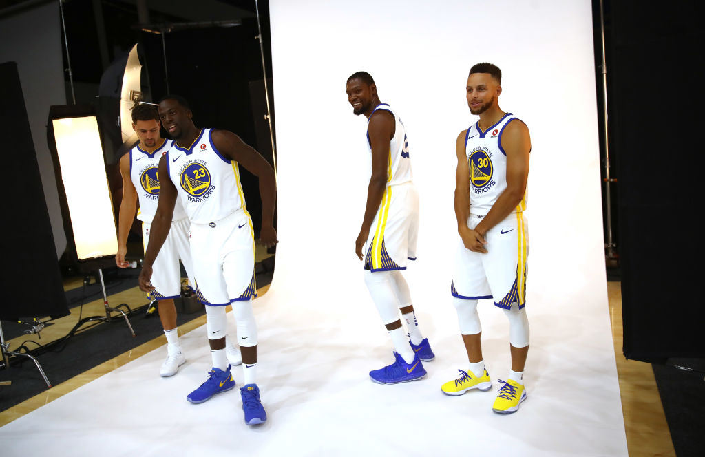 Klay Thompson (left), Draymond Green, and Steph Curry are mainstays on the Warriors' Death Lineup (or Hampton Five lineup), and then they added Kevin Durant (second from right).