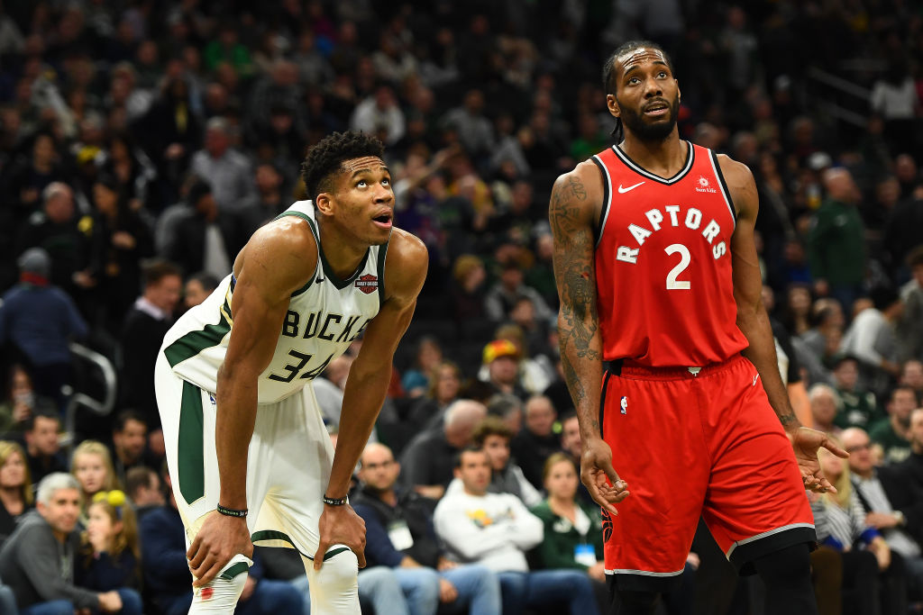 MVP candidates Giannis Antetokounmpo (left) and Kawhi Leonard face off in the 2019 Eastern Conference Finals.