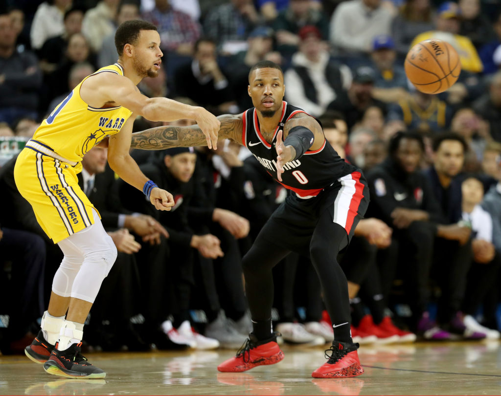 Stephen Curry (left) and the Golden State Warriors and Damian Lillard and the Portland Trail Blazers will face each other in the Western Conference finals during the 2019 NBA playoffs.