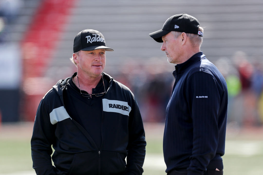 The Oakland Raiders, coach Jon Gruden (left), and GM Mike Mayock (right) selected several Clemson players in the 2019 NFL draft.