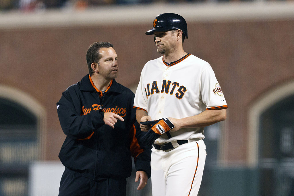 en he tried celebrating a perfect game, Aubrey Huff joined the ranks of MLB players who hurt themselves in jubilation.