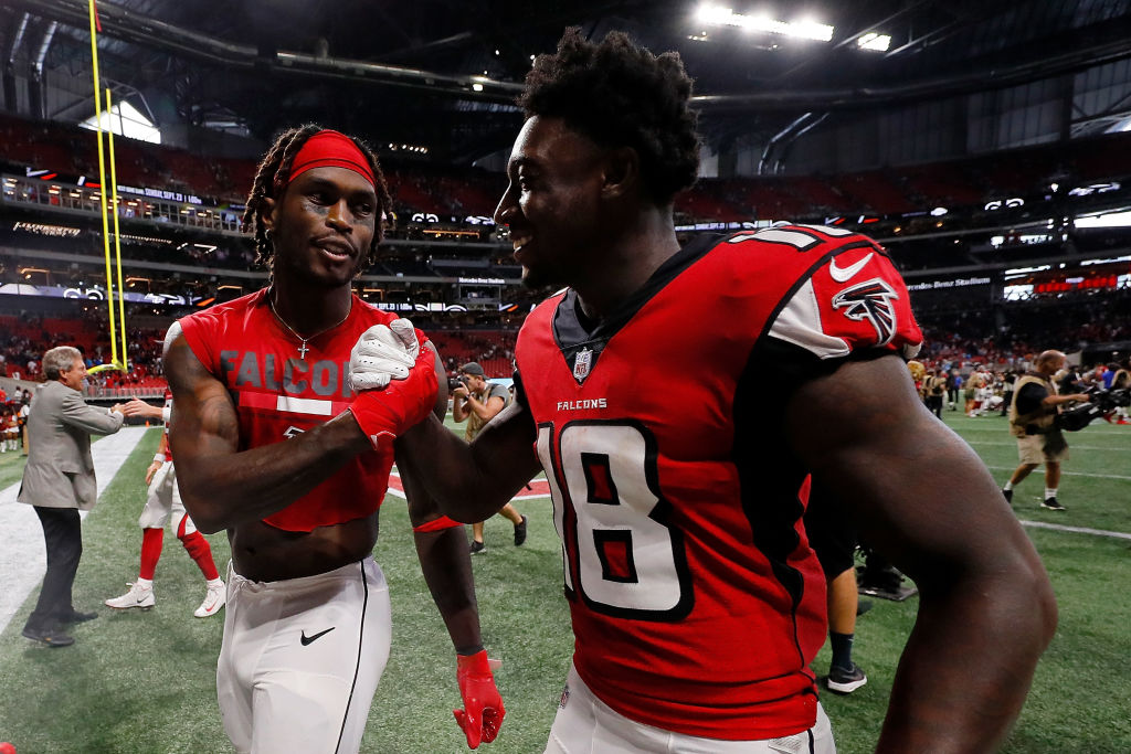 Julio Jones (left) and Calvin Ridley of the Atlanta Falcons might be the best wide receiver combination in the NFL.
