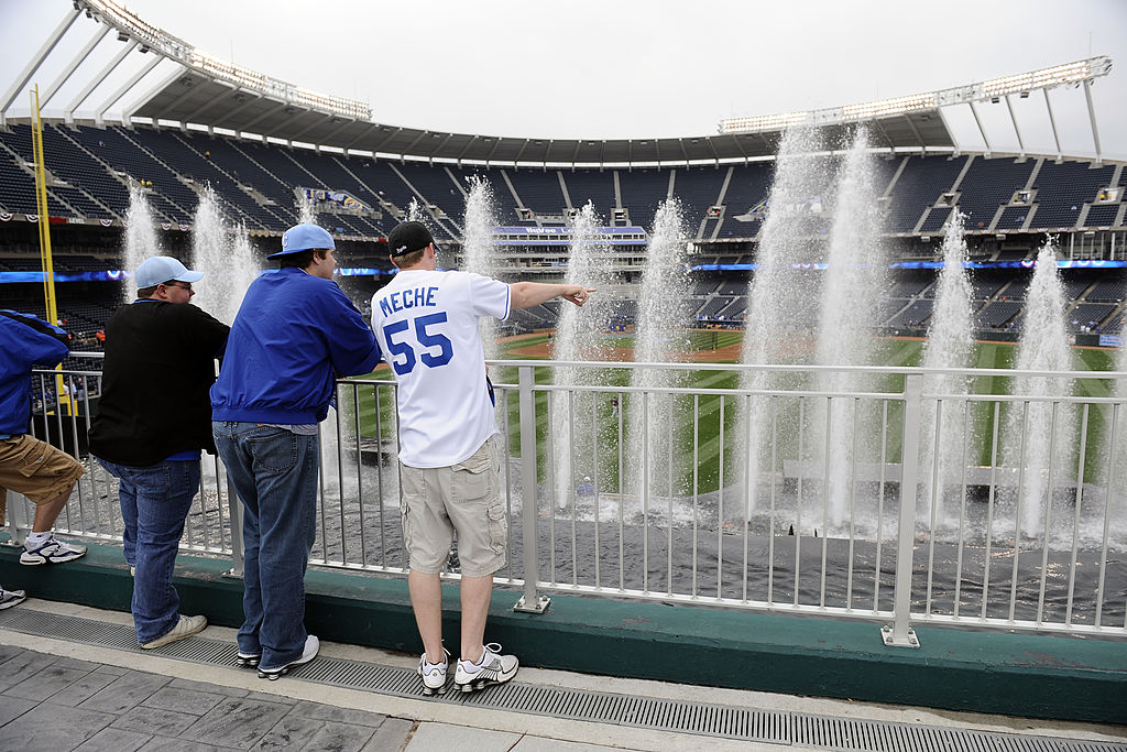 In terms of MLB stadiums with unique features, Kansas City's Kaufman Stadium's fountains standout.