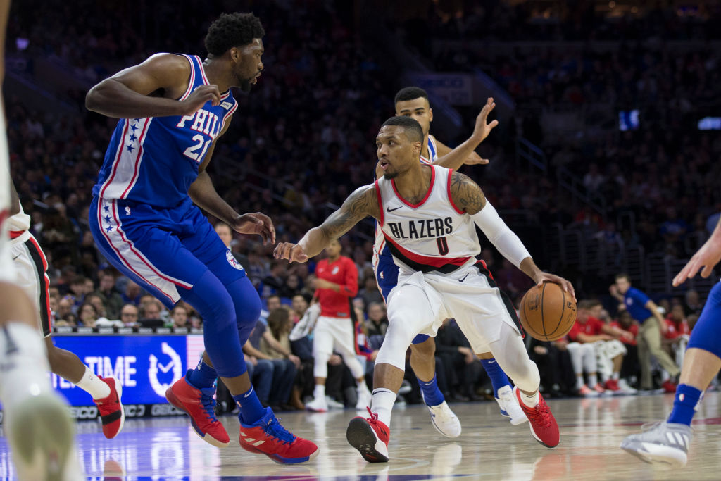 Joel Embiid (left) and the 76ers and Damian Lillard (right) and the Portland Trail Blazers could become NBA contenders very soon.