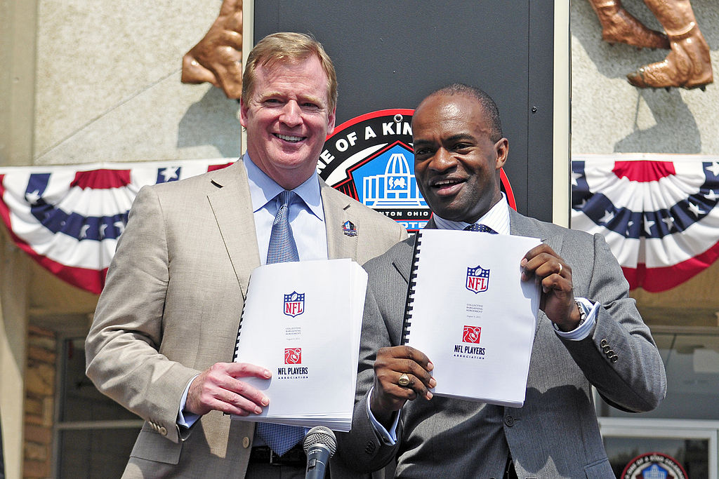 NFL commissioner Roger Goodell (left) and NFLPA president DeMaurice Smith could be spending a lot of time together in 2021 during the next round of labor talks