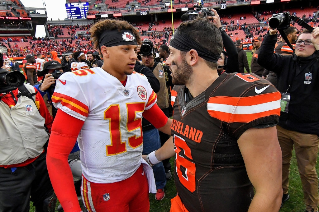 Patrick Mahomes (left) and Baker Mayfield play in divisions with the best quarterbacks in the NFL.