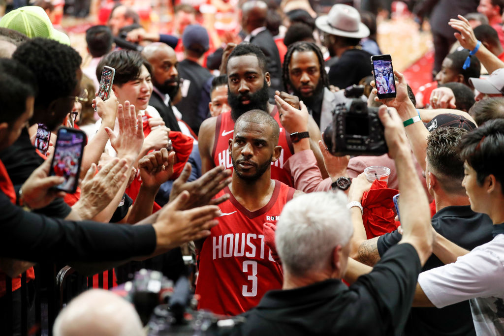 Chris Paul (No. 3), James Harden, and the Houston Rockets are on the verge of exploding.