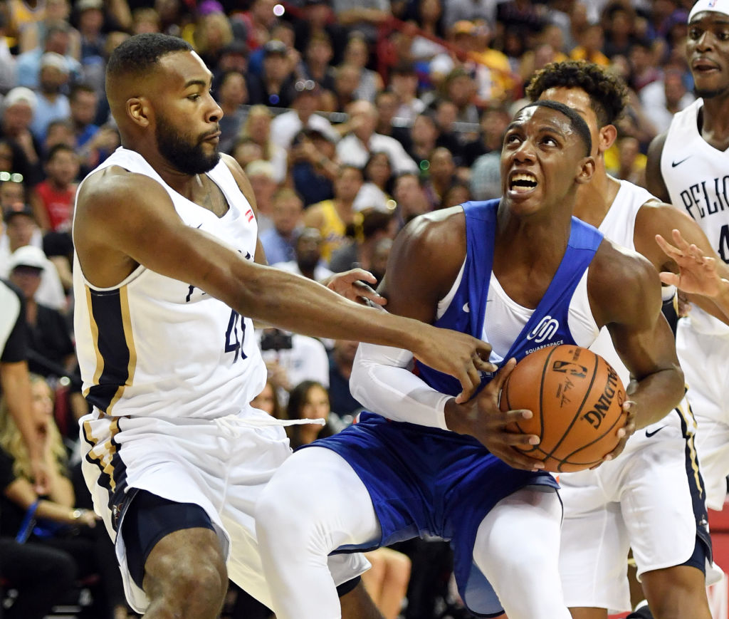 R.J. Barrett (with ball) struggled in the NBA summer league, but Duke's Coach K says there's nothing for Knicks fans to worry about.