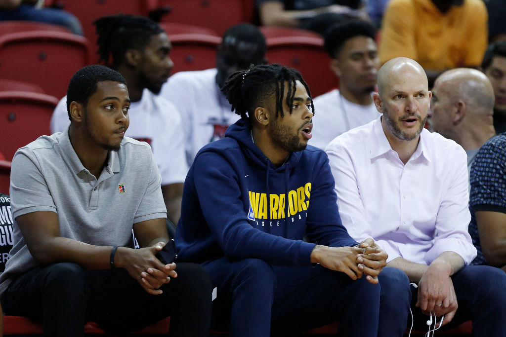 D'Angleo Russell (center) is the Warriors' newest acquisition, but how long will he play there?