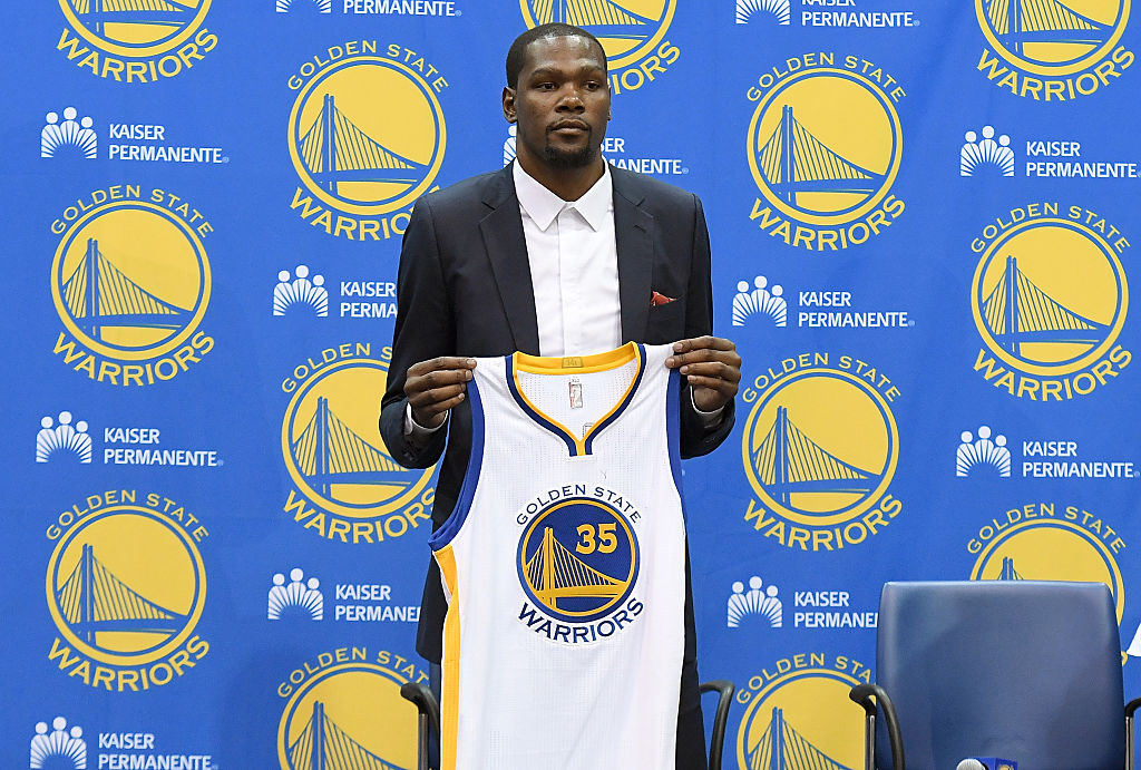 No one will wear Kevin Durant's No. 35 Golden State Warriors jersey anytime soon.