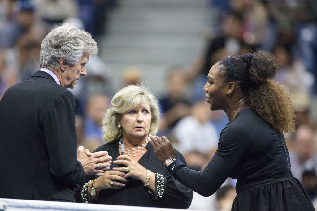 Serena Williams pleads her case with US Open referee Brian Earley