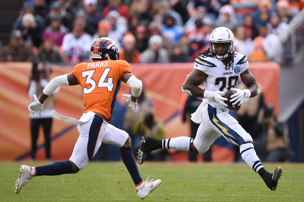 Melvin Gordon making a run against the Denver Broncos