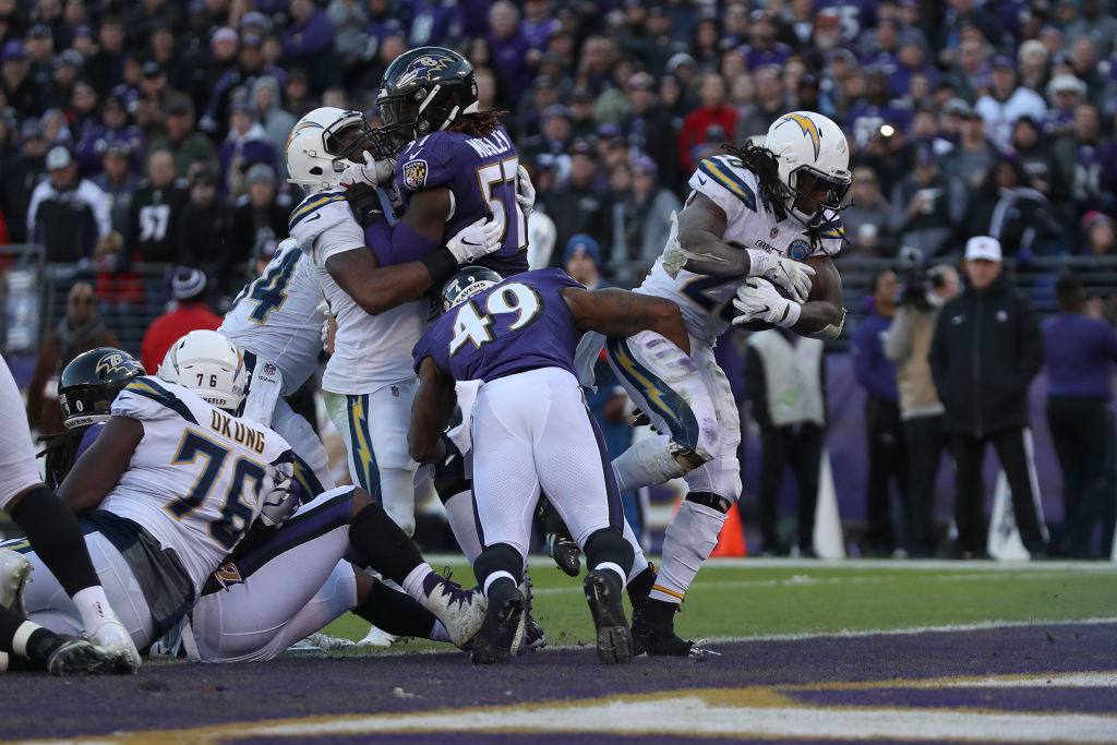 Melvin Gordon rushes for a touchdown against the Baltimore Ravens