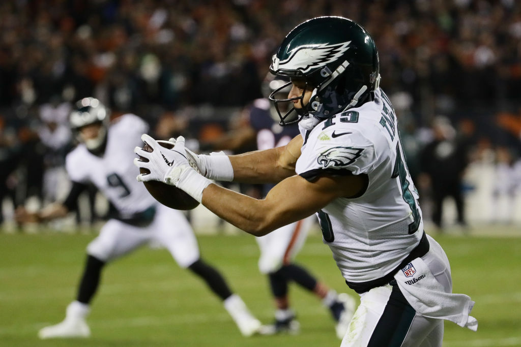 Golden Tate hauls in a touchdown pass against the Chicago Bears