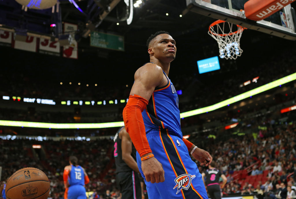 Russell Westbrook looks on after a slam dunk