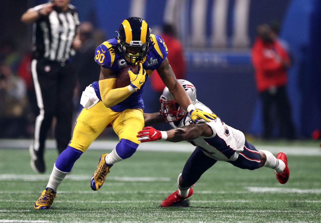Todd Gurley rushing the ball in Super Bowl LIII