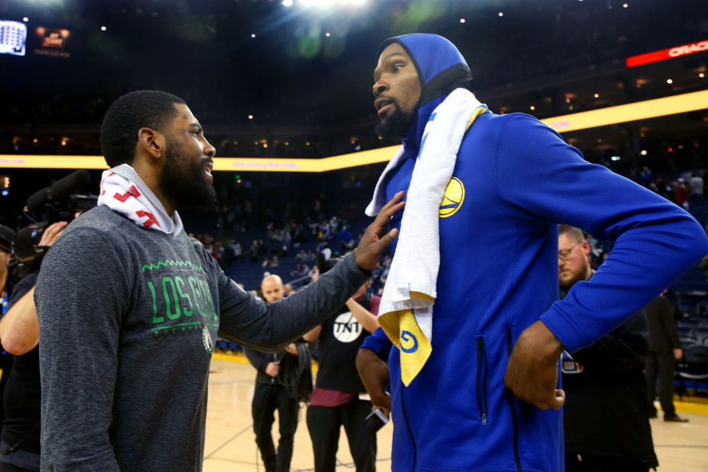 Kevin Durant and Kyrie Irving meet postgame
