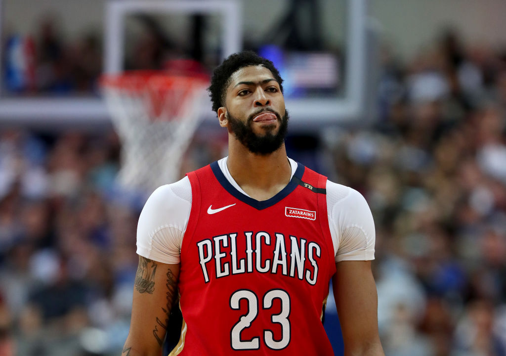 Anthony Davis looking frustrated with the New Orleans Pelicans