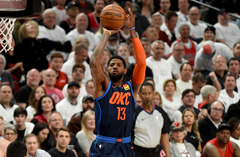 Paul George pulls up for a jump shot