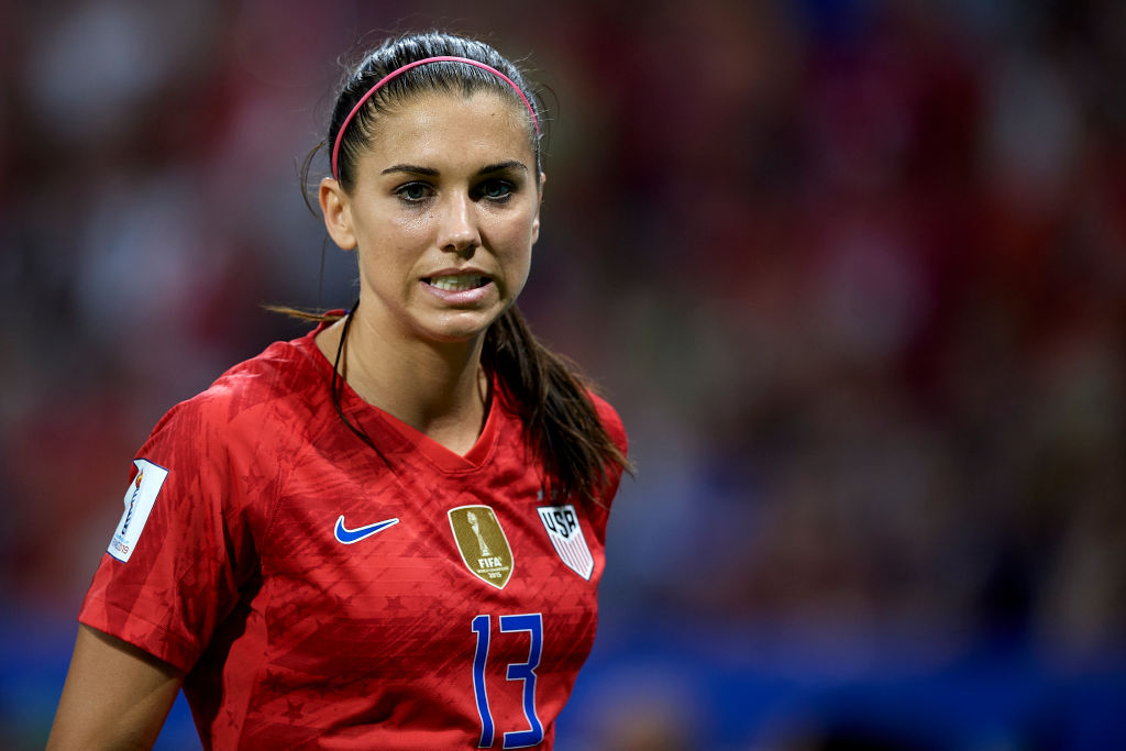 Alex Morgan looks on in the USA's game against France
