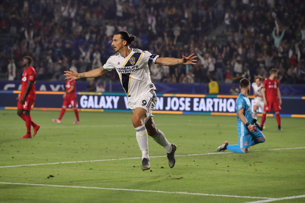 Zlatan Ibrahimovic celebrating a goal against Toronto FC